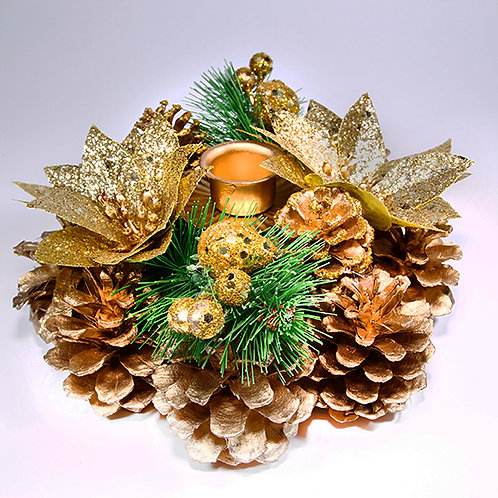 Christmas Table Candle Decoration Gold