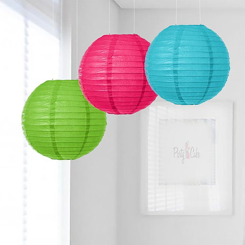 Grass Green, Hot Pink & Turquoise Paper Lanterns Mix Color Set