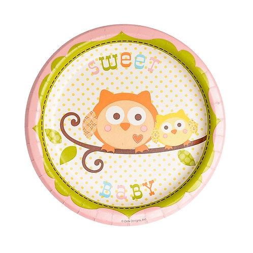 Happy Tree Dessert Plates - Girl (8 Pack)