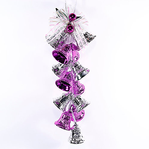 Christmas Decoration Hanging Bells Purple And Silver