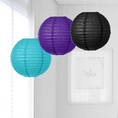 Turquoise, Purple & Black Paper Lanterns Mix Color Set