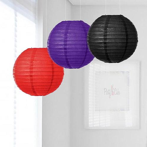 Red, Purple & Black Paper Lanterns Mix Color Set
