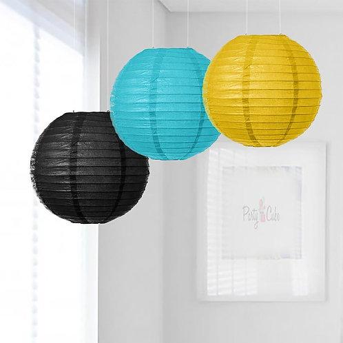 Black, Turquoise & Yellow Paper Lanterns Mix Color Set