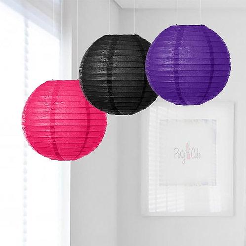 Hot Pink, Black & Purple Paper Lanterns Mix Color Set
