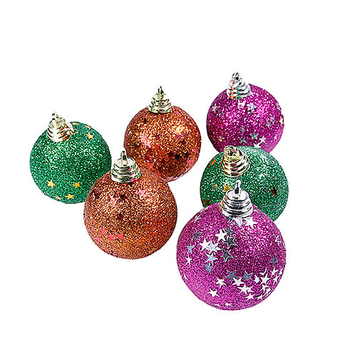 Christmas Tree Hanging Balls Multicolor Glitter