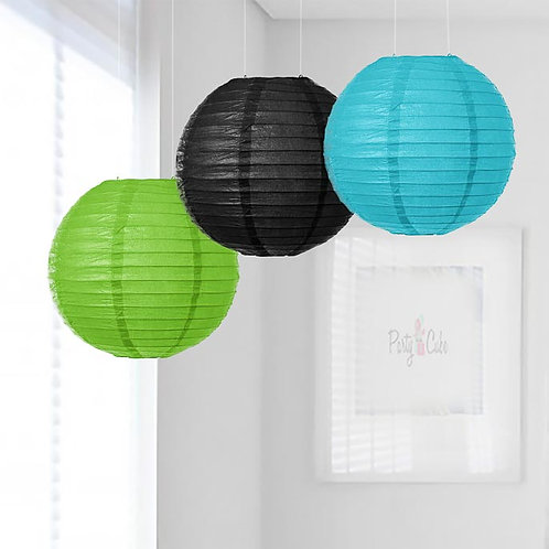 Grass Green, Black & Turquoise Paper Lanterns Mix Color Set