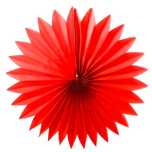 Paper Tissue Fan Decoration - Red