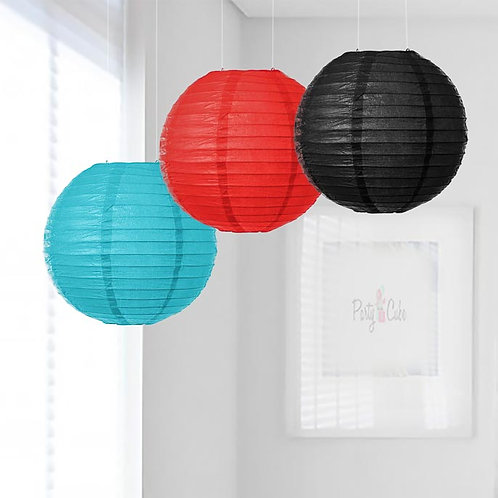 Turquoise, Red & Black Paper Lanterns Mix Color Set