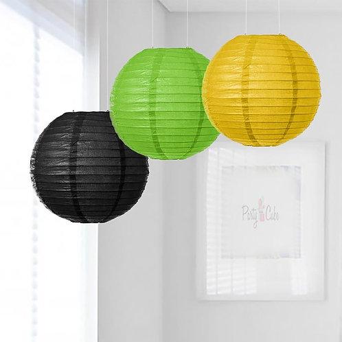 Black, Grass Green & Yellow Paper Lanterns Mix Color Set