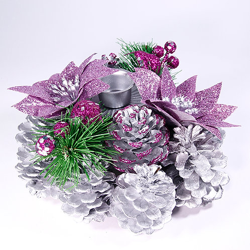 Christmas Table Candle Decoration Purple
