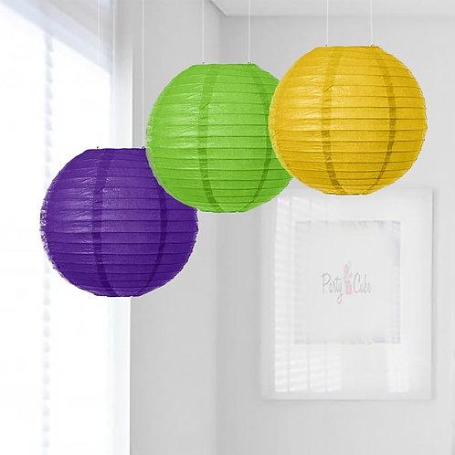 Purple, Grass Green & Yellow Paper Lanterns Mix Color Set