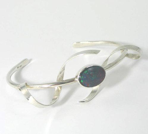 R022:Silver Stone-Set Organic Bangle