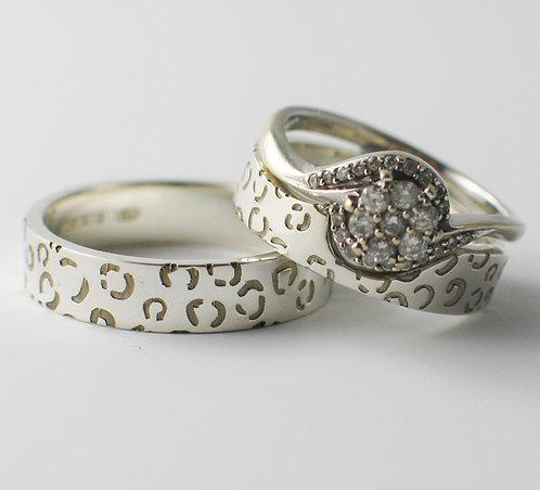 Flat Shaped Wedding Rings.  Leopard PatteredDesign.