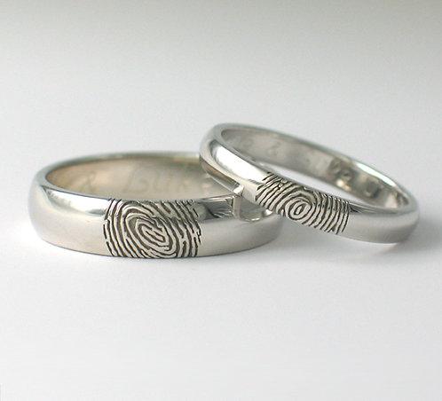D Shaped 9ct White Gold Fingerprint Wedding Rings.