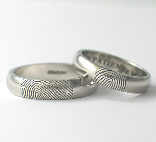 D Shaped Platinum & Palladium Fingerprint Wedding Rings