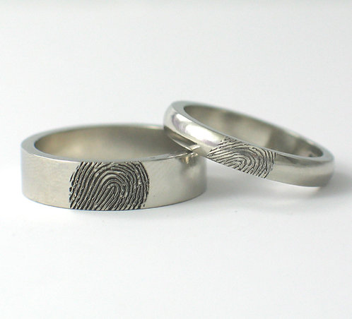 Flat & D Shaped Palladium Fingerprint Wedding Rings.