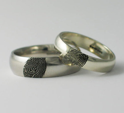 Court & D Shaped Palladium & 9ct White Gold Fingerprint Wedding Rings