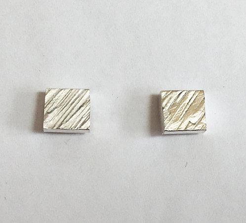 Diagonal Line Textured Stud Earrings