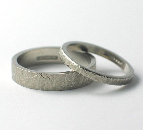 T001: Palladium Flat Shaped Wedding Rings.