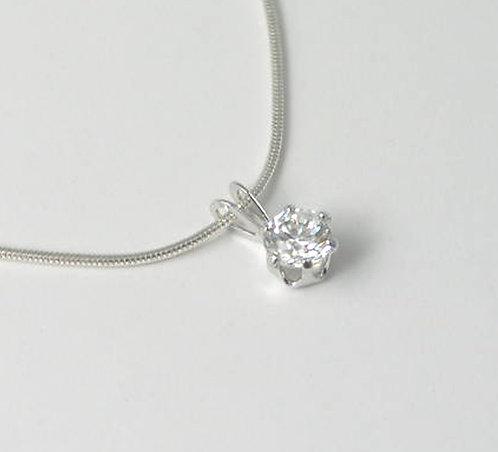 M026: Silver Stone-Set Pendant.