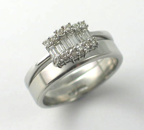 Palladium Shaped Wedding Rings.
