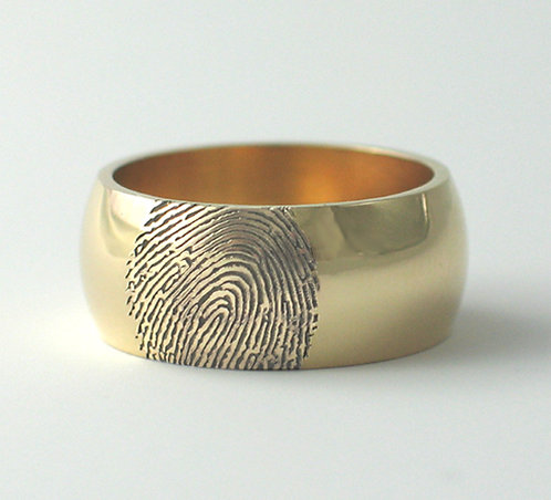 Wide D Shaped & Flat Fingerprint Wedding Rings