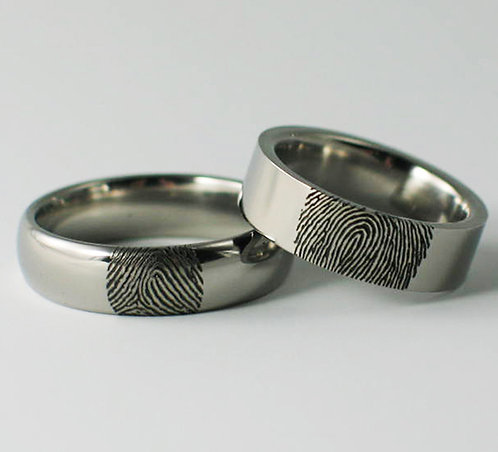 Court & Flat Shaped Titanium Fingerprint Wedding Rings.