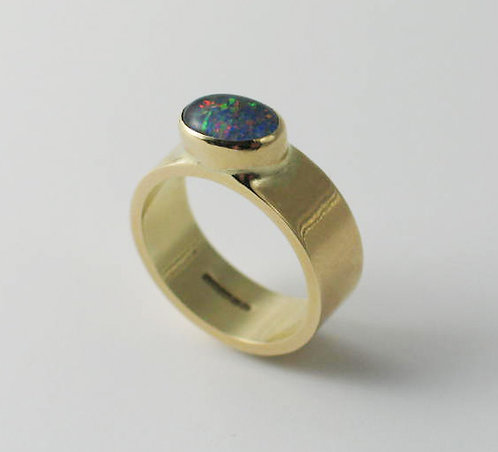 9ct Yellow Gold and Opal Triplet Ring