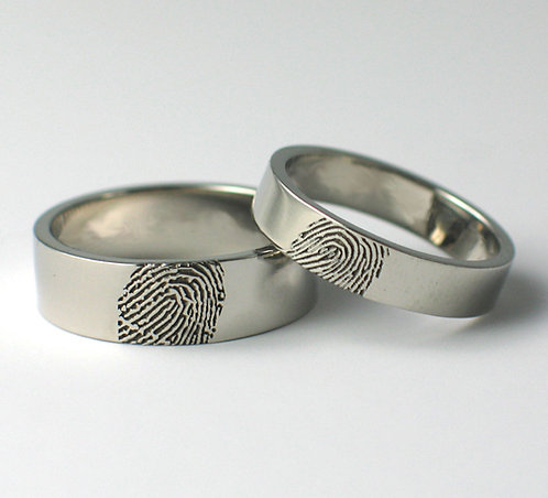 Flat Shaped Palladium Fingerprint Wedding Rings