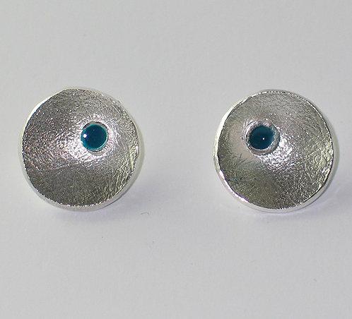 J014: Silver and Enamel Stud Earrings.