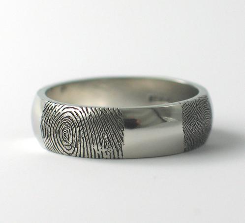 D Shaped Platinum Fingerprint Wedding Ring