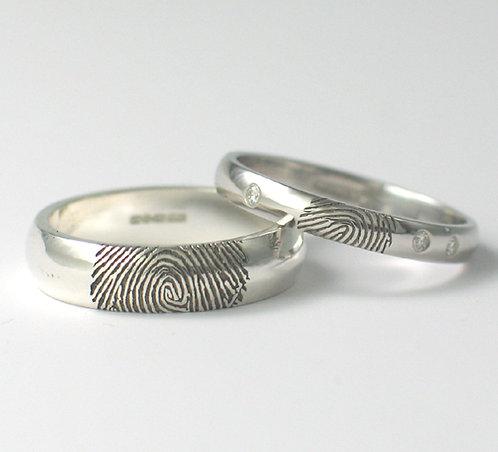 D Shaped 9ct White Gold Fingerprint Wedding Rings