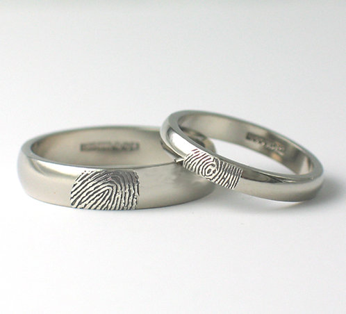 D Shaped Palladium Fingerprint Wedding Rings.