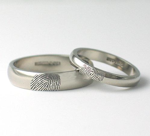 D Shaped Palladium Fingerprint Wedding Rings