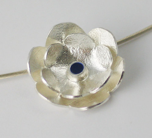 J022: Small Silver and Blue Enamel Flower Pendant