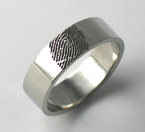 Flat Shaped Fingerprint Wedding Ring.