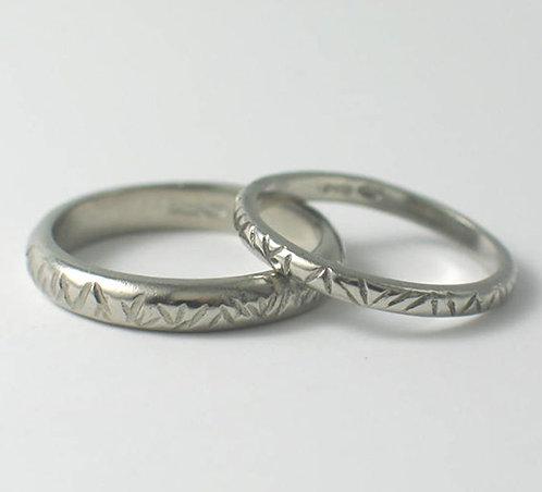 T010: Palladium D Shaped Wedding Rings.