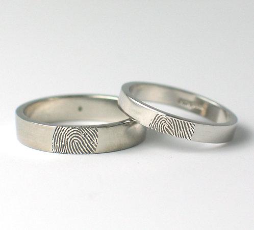 Flat Shaped 9ct White Gold Fingerprint Wedding Rings.
