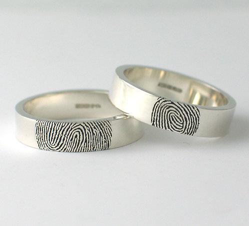 Flat ShapedFingerprint Wedding Rings