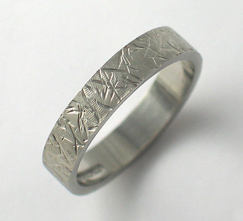 T001: Flat Shaped Line Textured Wedding Ring.