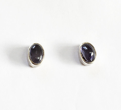 E008: Silver and Iolite Oval Stud Earrings.