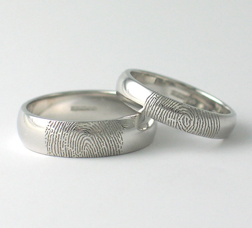 D Shaped 9ct White Gold Fingerprint Wedding Rings