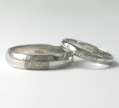 D Shaped 9ct White Gold Fingerprint Wedding Rings.