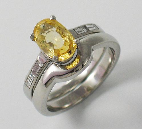 Platinum Engagement Ring & Shaped Wedding Ring.