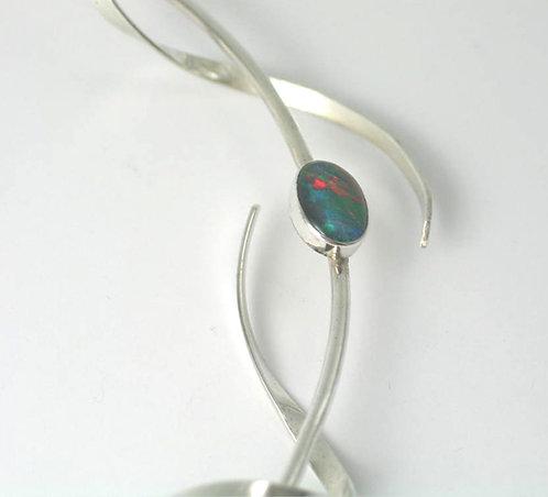 R003: Silver Stone-Set Organic Neckpiece