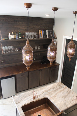 Kitchen Remodel - Open Shelving Bar and Media Console