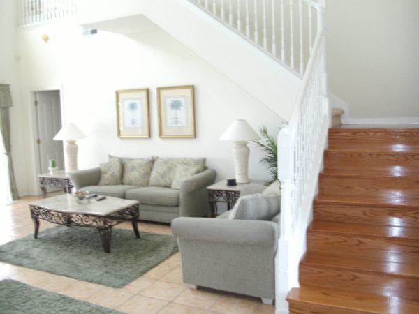 Stairs and living area