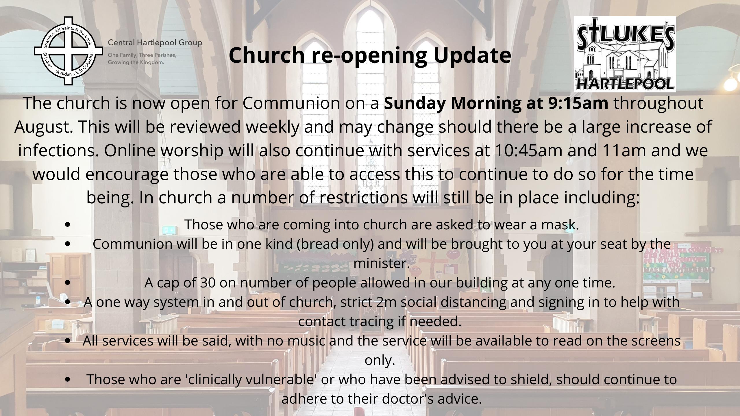 Church re-opening Update Communion
