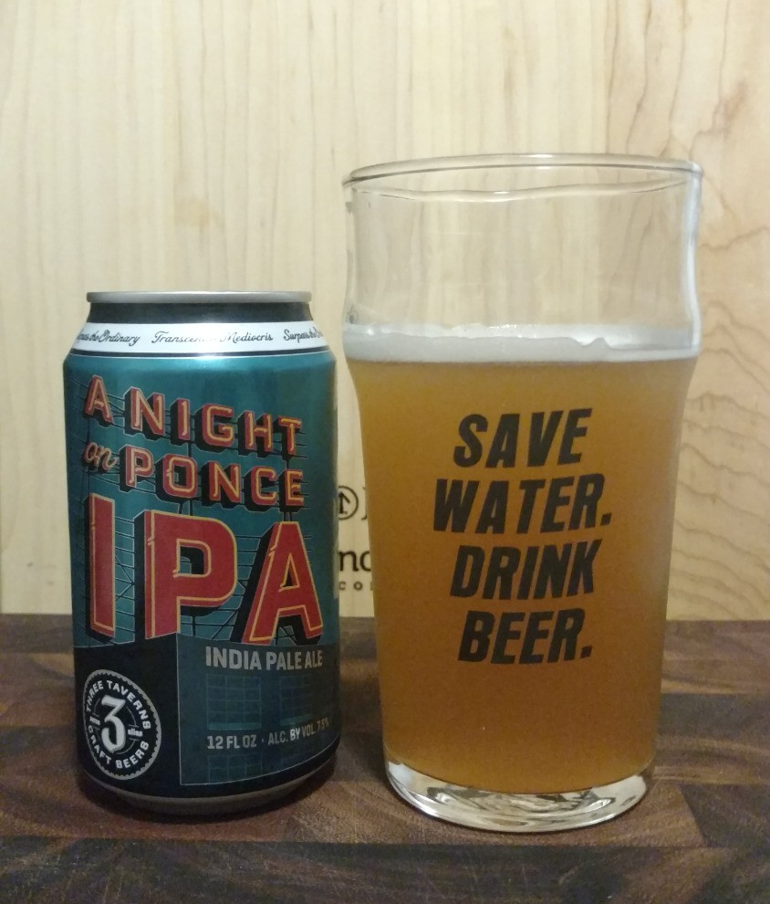 A Night On Ponce IPA with glass