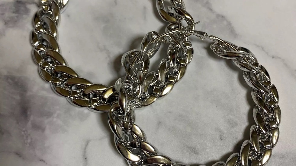Silver Medium size Cuban link hoops